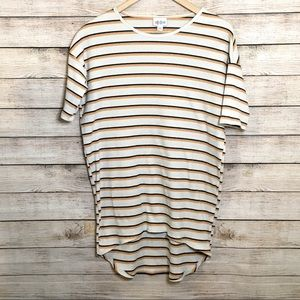 LuLaRoe Irma Beige Striped Short Sleeve T XXS